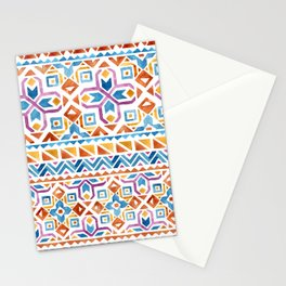 Geometric colorful Watercolor Pattern Stationery Cards