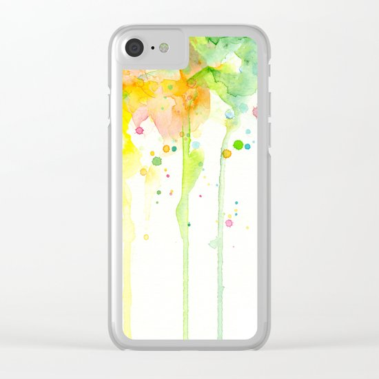 Watercolor Rainbow Splatters Abstract Texture Clear iPhone Case