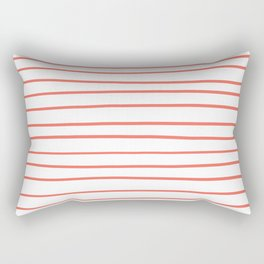 Pantone's color of the year 2019 Living Coral 16-1546 Hand Drawn Horizontal Lines on White Rectangular Pillow