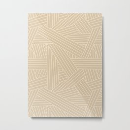 Crossing Lines in Beige Metal Print