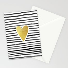 Gold Heart And Black ink abstract horizontal stripes background.  Stationery Cards