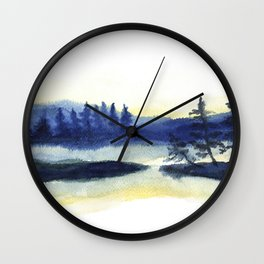 Sunset landscape painting Wall Clock
