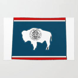 Wyoming Map with State Flag Rug
