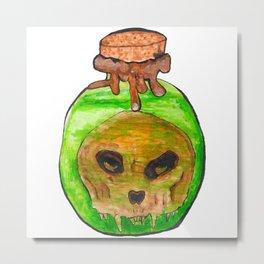 Skull in jar Metal Print