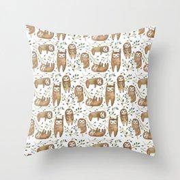 Sloth Buds Throw Pillow