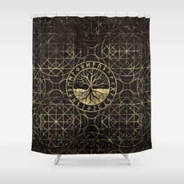 Tree of life  -Yggdrasil and  Runes Shower Curtain