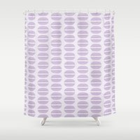 macaroon Shower Curtains featuring Purple Macaron Pattern - Lavender Macaroon by French Macaron Art Print and Decor Store