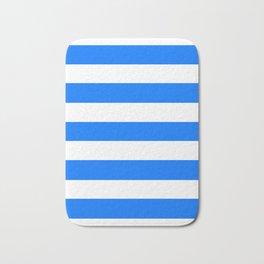 Brandeis blue - solid color - white stripes pattern Bath Mat