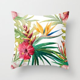 Tropical Floral Pattern 05 Throw Pillow