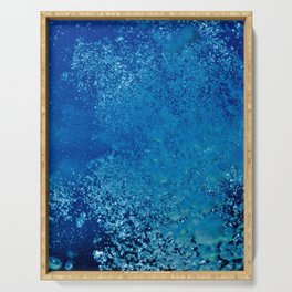 Raising underwater bubbles in the blue sea (another version) Serving Tray