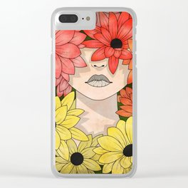Flower Garden Girl Clear iPhone Case