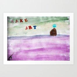 make art - colorful painting, cloud upside down Art Print
