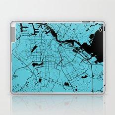 Amsterdam Turquoise on Black Street Map Laptop & iPad Skin