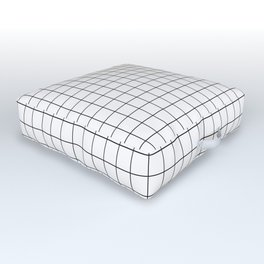 Black and White Thin Grid Graph Outdoor Floor Cushion