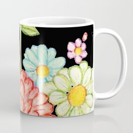 Exotic Floral Black Cat Silhouette Coffee Mug