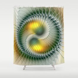 Like Yin and Yang, Abstract Fractal Art Shower Curtain