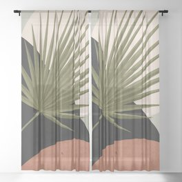 Tropical Leaf- Abstract Art 5 Sheer Curtain
