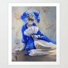 A Woman in blue gown and the Venetian Mask: Hidden Art Print
