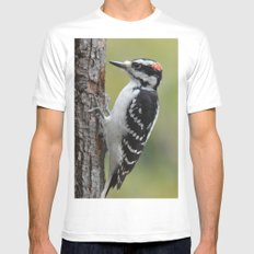 Male Hairy Woodpecker MEDIUM White Mens Fitted Tee