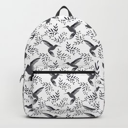 Pretty beautiful cute hummingbirds, delicate little leaves black and white monochrome pattern. Gift Backpack