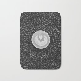 Coffee Beans (Black and White) Bath Mat