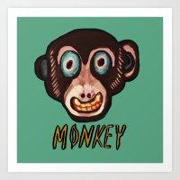 monkey mask Art Print
