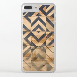 Chevron Scatter Black and Wood Clear iPhone Case