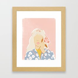 Girl and her Flower Framed Art Print
