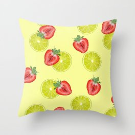 Line Strawberry fruits pattern yellow Throw Pillow