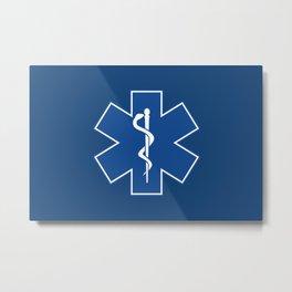 EMT Health Care Rod of Asclepius Blue Medical Symbol Metal Print