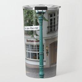 Zons - Straßenlaterne vor dem Rheintor Travel Mug