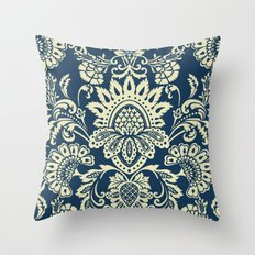 damask in white and blue vintage Throw Pillow