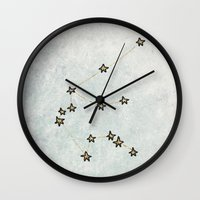 aquarius Wall Clocks featuring Aquarius by Leah Flores