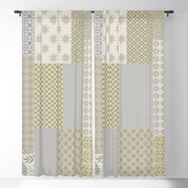Modern Farmhouse Patchwork Quilt in Gray Marigold and Oatmeal Blackout Curtain