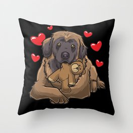 Cute Leonberger Dog with stuffed animal Throw Pillow