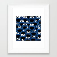 cookie monster Framed Art Prints featuring Cookie Monster  by aldarwish