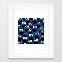 cookie monster Framed Art Prints featuring Cookie Monster  by aldarwish