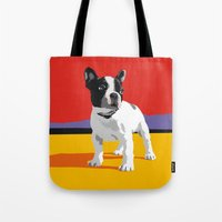 boston terrier Tote Bags featuring Boston terrier by Matt Mawson