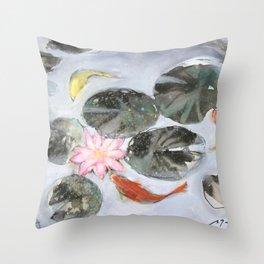Sumie No.12 Triple Koi Throw Pillow