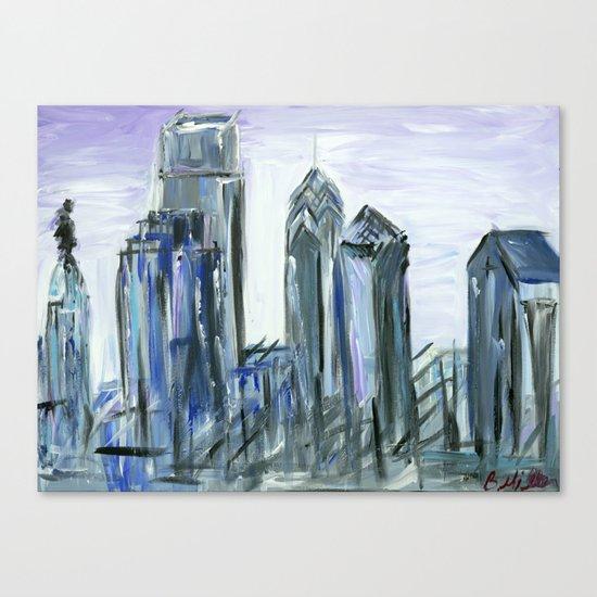 Gray Philadelphia Skyline Canvas Print