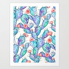 Rainbow Watercolor Cactus Pattern Art Print