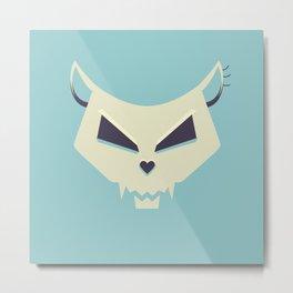 Pastel Evil Cat Skull Metal Print