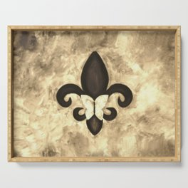 Sepia Gold and Brown Fleur de Lis with Butterfly Serving Tray