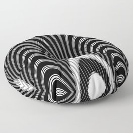 Geometric Black and White Abstract Skeletal Pattern Floor Pillow