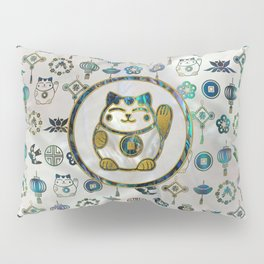 Maneki Neko Lucky cat on  pearl and abalone Pillow Sham