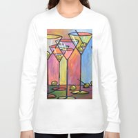 alcohol Long Sleeve T-shirts featuring Martini Bar ... Abstract alcohol art by Amy Giacomelli