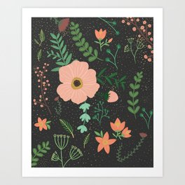 Charcoal Floral Print Art Print