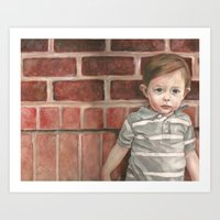 toddler Art Prints featuring A Toddler Named Carter by Missy's Portraits