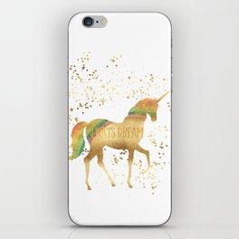 Gold Rainbow Dream Unicorn iPhone Skin