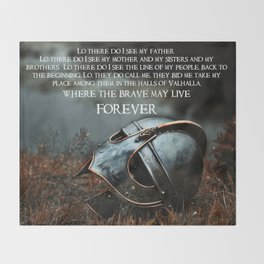 Brave May Live Viking Prayer Throw Blanket